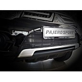 Сетка в бампер для MITSUBISHI Pajero Sport 2014-2017 черный 15 мм  артикул: 01-380514-15B