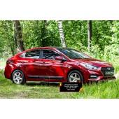 Молдинги на двери Hyundai Solaris 2017-2019 II (седан) глянец (под покраску)