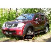 Молдинги на двери широкие Nissan Pathfinder 2004-2010 (R51) глянец (под покраску)