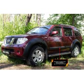 Молдинги на двери узкие Nissan Pathfinder 2004-2010 (R51) глянец (под покраску)
