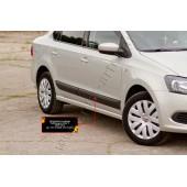 Молдинги на двери (передний левый) Volkswagen Polo 2009-2016 V глянец (под покраску)