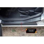 Накладки на внутренние пороги задних дверей Ford Fusion 2005-2012  шагрень