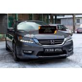 Накладки на передние фары (реснички) компл.-2 шт. Honda Accord 2012-2015 IX (седан) глянец (под покраску)