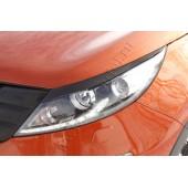 Накладки на передние фары (реснички) компл.-2 шт. Kia Sportage 2010-2013 III глянец (под покраску)