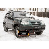 Зимняя заглушка решётки переднего бампера Chevrolet Niva 2009-2019 Bertone шагрень