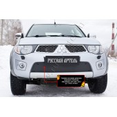 Зимняя заглушка решетки переднего бампера Mitsubishi L200 2010-2013  шагрень