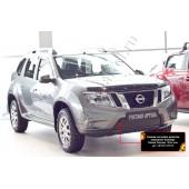 Зимняя заглушка решетки переднего бампера Nissan Terrano 2014-2015  шагрень