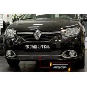 Зимняя заглушка решетки переднего бампера (Privilege, Privilege Luxe) Renault Logan 2014-2017 II шагрень