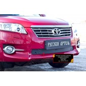 Зимняя заглушка решетки переднего бампера Toyota Rav4 2011-2012  шагрень